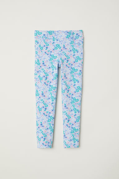 Sturdy jersey leggings - Light blue/Floral - Kids | H&M CN