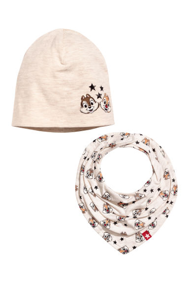 Hat and triangular scarf - Beige marl/Chip 'n' Dale -  | H&M GB
