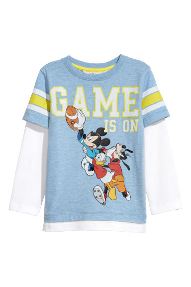 Jersey top - Light blue marl/Mickey Mouse - Kids | H&M CN