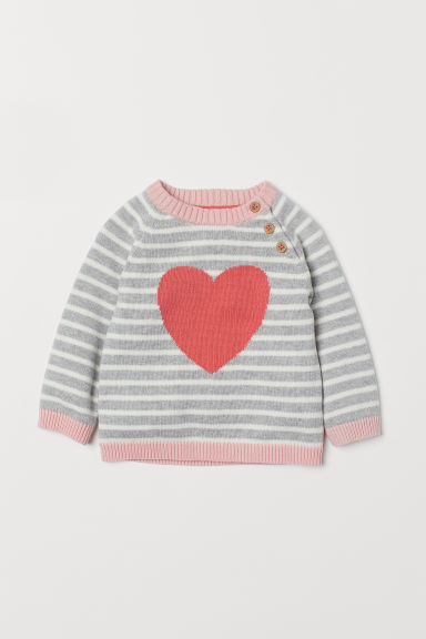 Fine-knit jumper - Light grey marl/Heart - Kids | H&M
