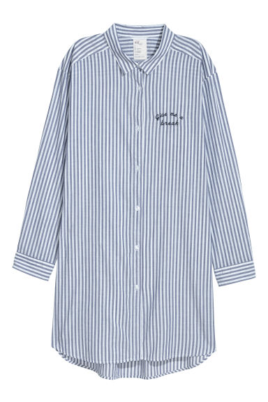 Cotton nightshirt - Dark blue/White striped -  | H&M