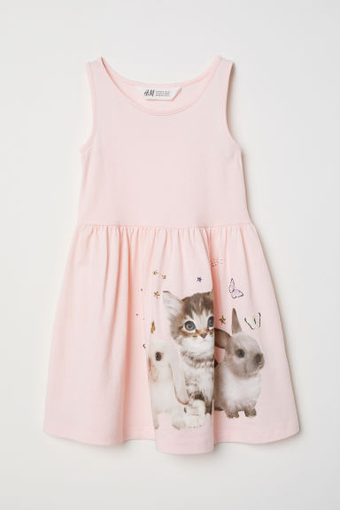 Sleeveless jersey dress - Light pink/Bunnies - Kids | H&M