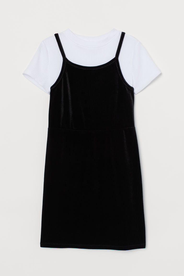 Top and velour dress - Black/White - Kids | H&M IN