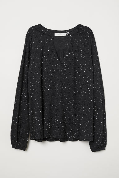 V-neck jersey blouse - Black/Spotted - Ladies | H&M
