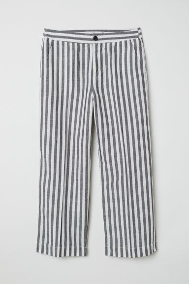 Linen-blend culottes - White/Grey striped - Ladies | H&M