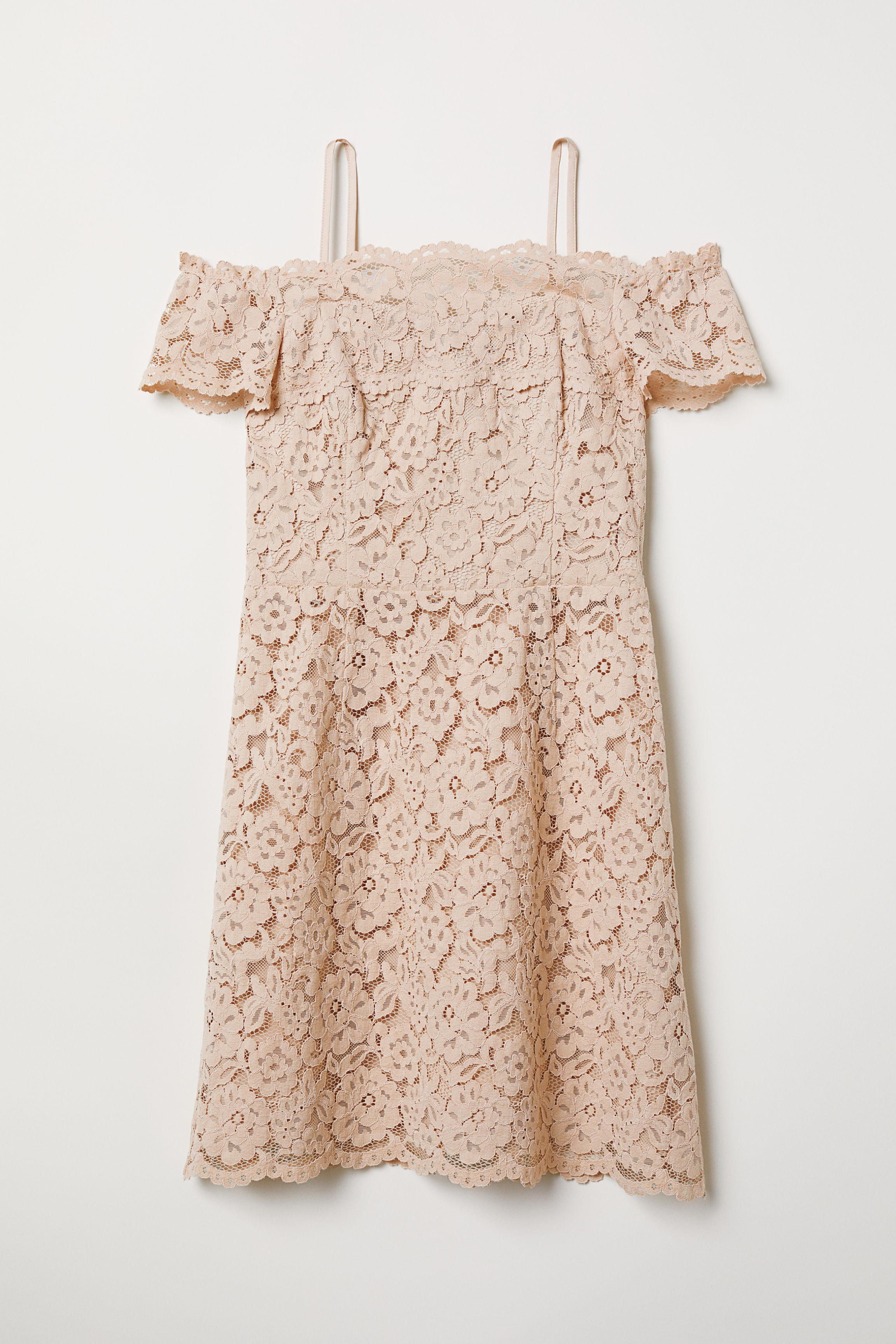 205c1a5957006 Off-the-shoulder Dress - Powder beige - Ladies | H&M US
