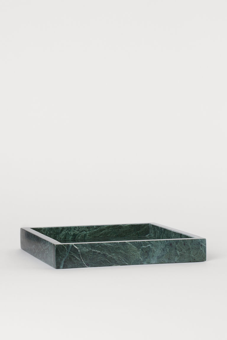 Square Marble Tray - Dark green/marble - Home All | H&M US