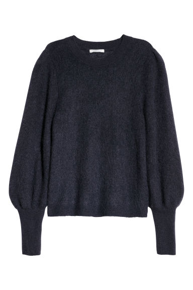 Knitted mohair-blend jumper - Dark grey-blue - Ladies | H&M