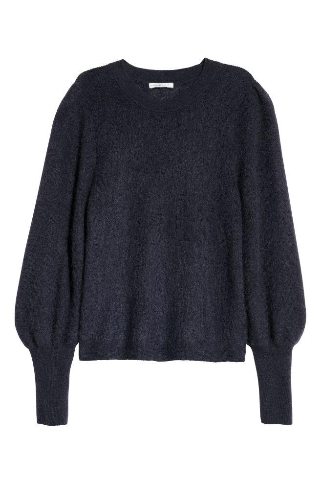 Knit Mohair Blend Sweater Dark Grey Blue Hm Us