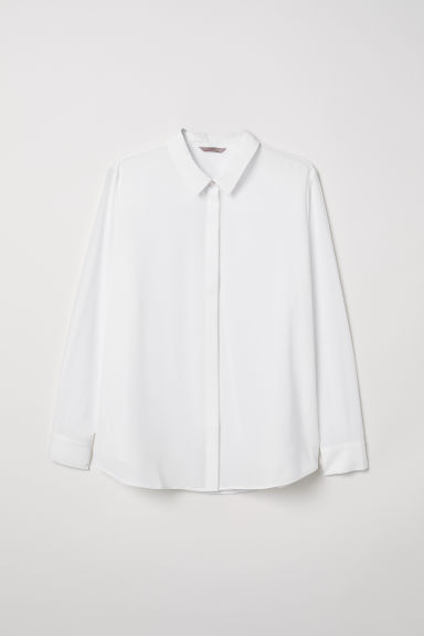 H&M+ Long-sleeved blouse - White - Ladies | H&M CN