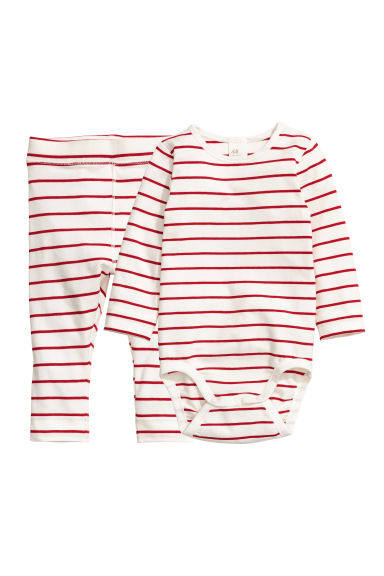 Bodysuit and trousers - Natural white/Red striped -  | H&M CN