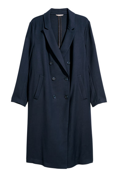H&M+ Double-breasted coat - Dark blue -  | H&M