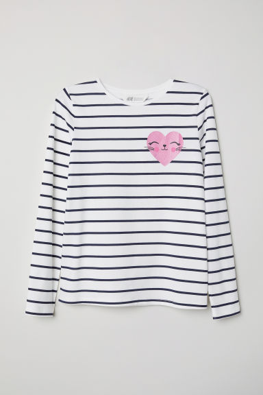 Printed jersey top - White/Striped - Kids | H&M CN