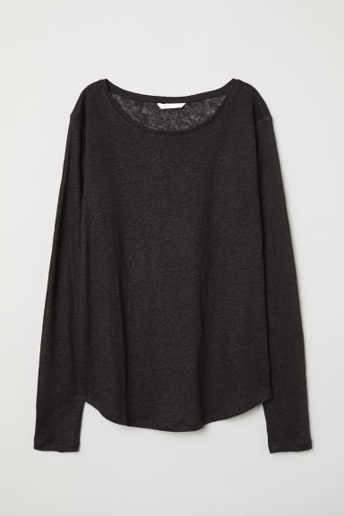 Linen top - Black - Ladies | H&M