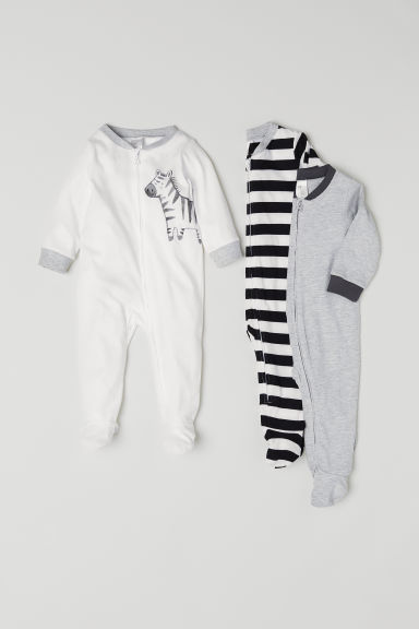 3-pack cotton pyjamas - White/Zebra - Kids | H&M CN
