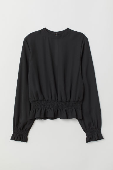 Blouse with smocking - Black - Ladies | H&M