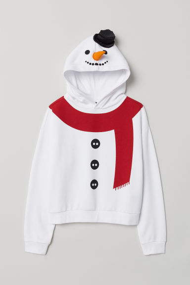 Printed hooded top - White/Snowman -  | H&M