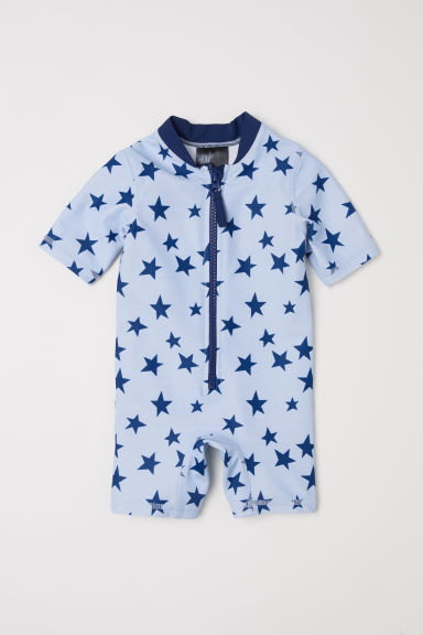 Swimsuit with UPF 50 - Light blue/Stars - Kids | H&M