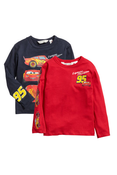 Set van 2 tricot T-shirts - Rood/Cars -  | H&M BE