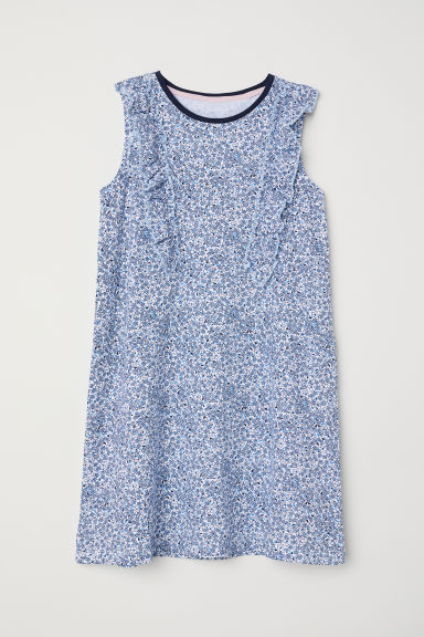 Nightslip with frills - White/Blue floral - Kids | H&M