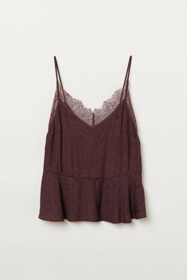Lace-trimmed strappy top - Burgundy - Ladies | H&M