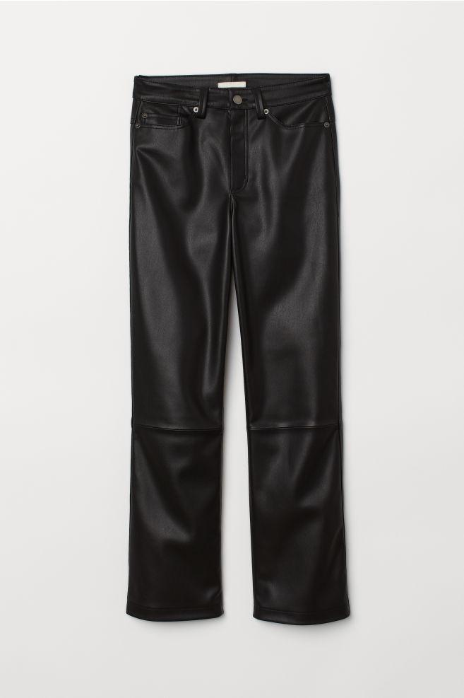 eaf59d9cb65fe Faux Leather Pants - Black - Ladies   H&M ...
