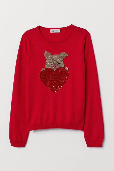 Jumper with reversible sequins - Red/Heart - Kids | H&M CN