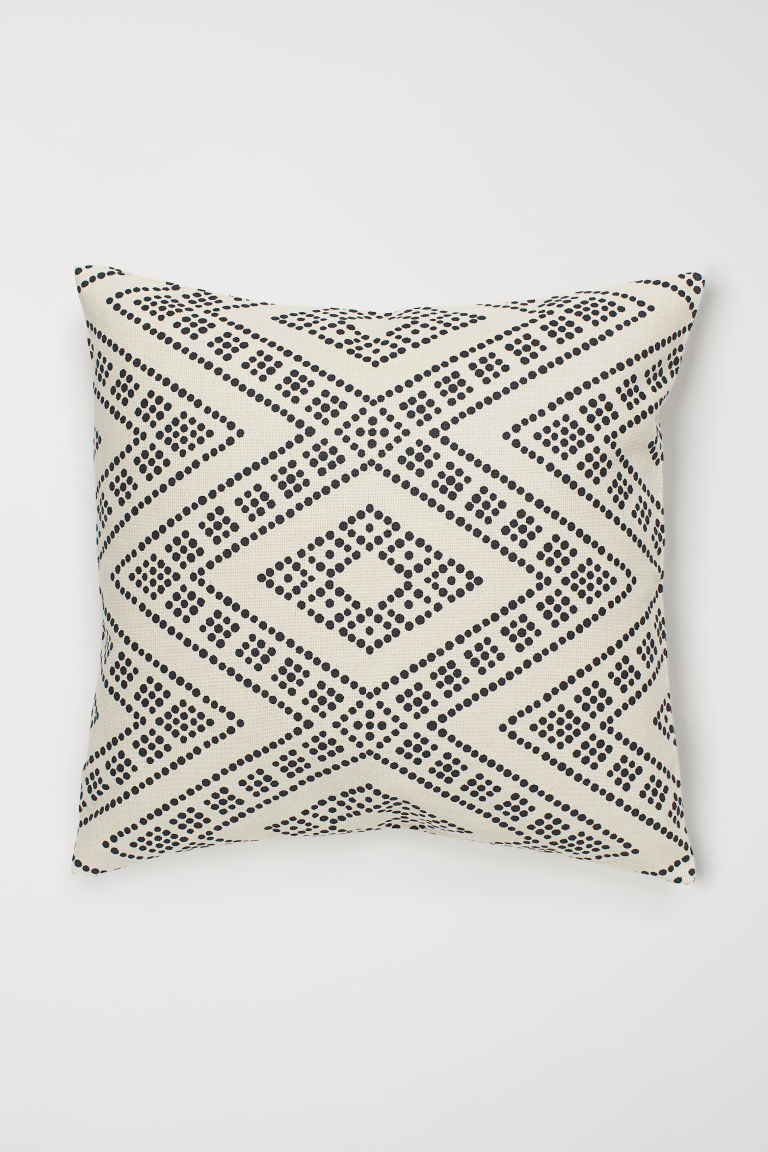 Cotton Cushion Cover - Natural white/black dotted - Home All | H&M US