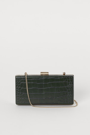 Crocodile-patterned clutch bag