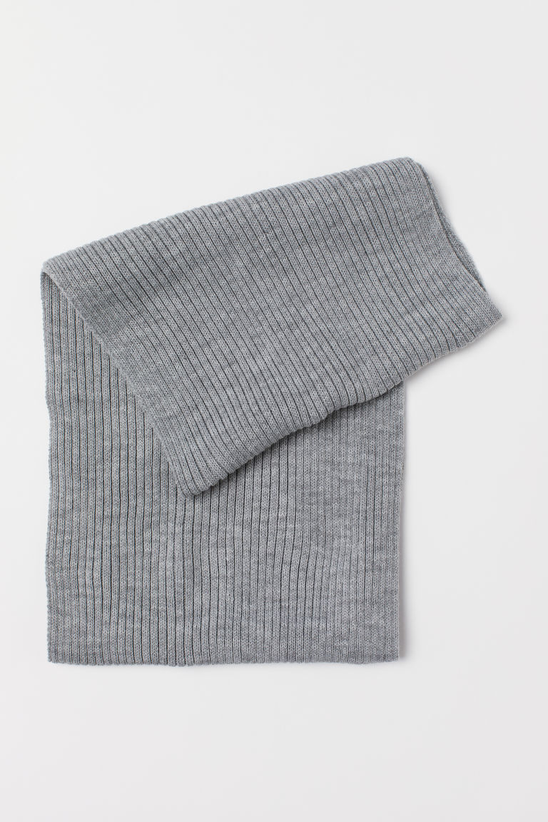 Ribbed tube scarf - Grey marl - Men | H&M