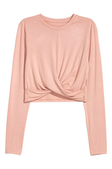 Short jersey top - Peach -  | H&M CN