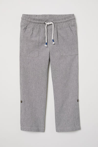Pull-on trousers - Grey/Striped - Kids | H&M CN