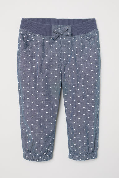 Cotton pull-on trousers - Blue/Hearts - Kids | H&M