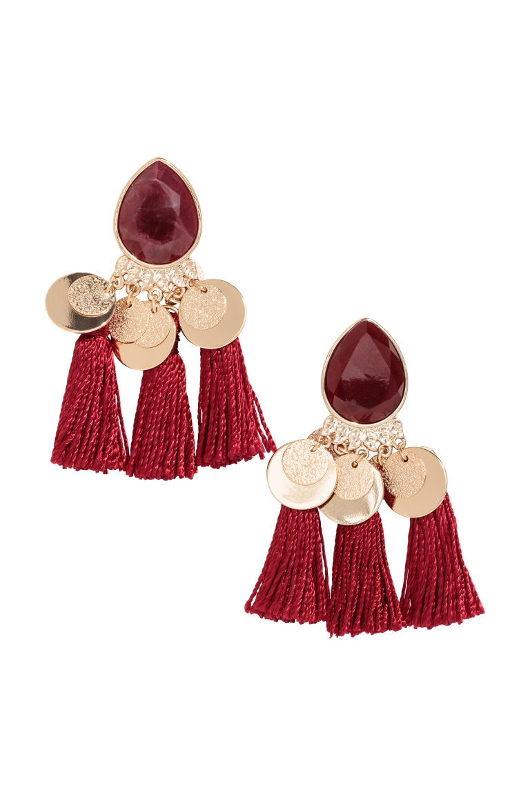 Tasselled earrings - Gold-coloured/Burgundy - Ladies | H&M GB