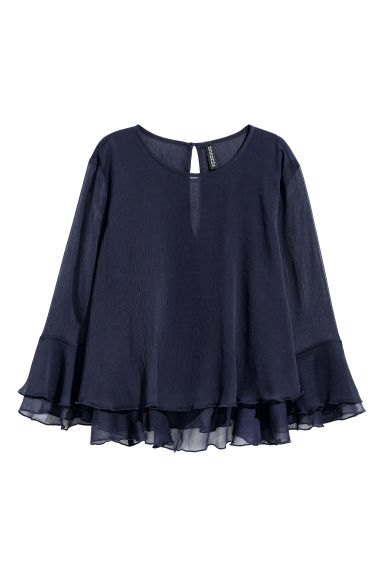 Double-layered blouse - Dark blue -  | H&M CN