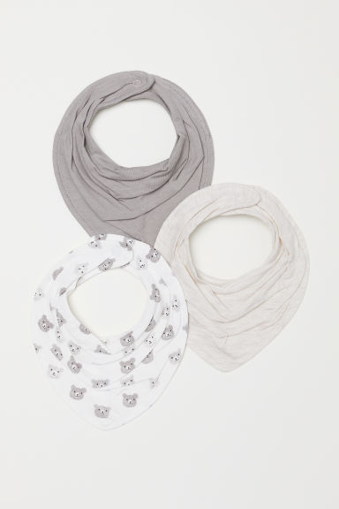 3-pack triangular scarves - White/Bears - Kids | H&M