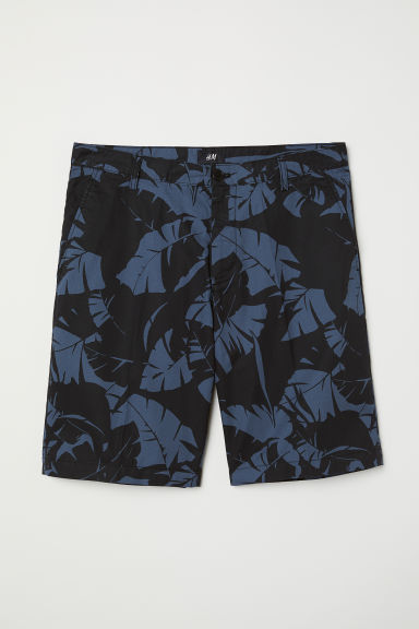 Chino shorts - Blue/Leaf-patterned - Men | H&M