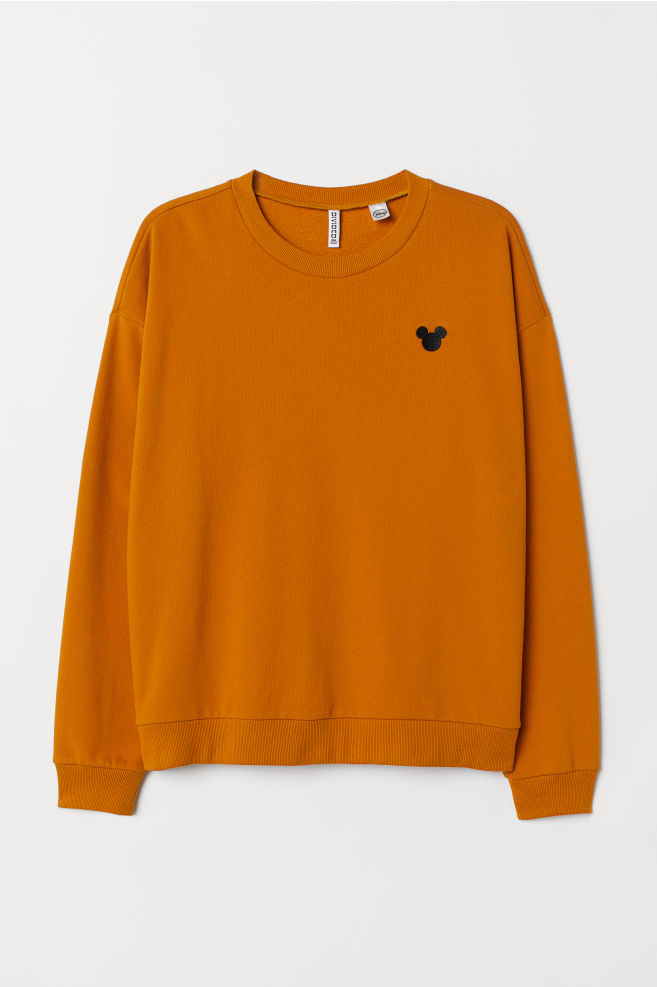 ... H M+ Embroidered Sweatshirt - Mustard yellow Mickey Mouse - Ladies  b4e8a76b4