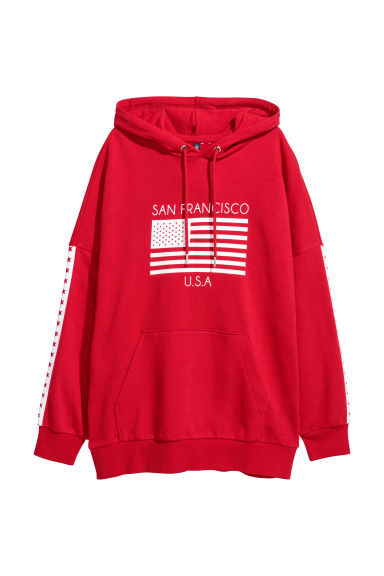 Printed hooded top - Red/San Francisco -  | H&M