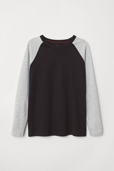 Long-sleeved T-shirt - Grey marl/Black - Kids | H&M CN