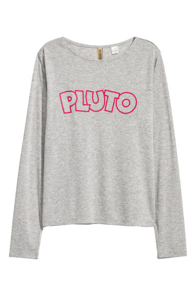 Long-sleeved jersey top - Light grey/Pluto - Ladies | H&M