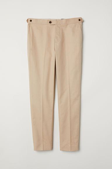 f28fcdba8ab1 Úzke nohavice z ľanovej zmesi - béžová - MUŽI