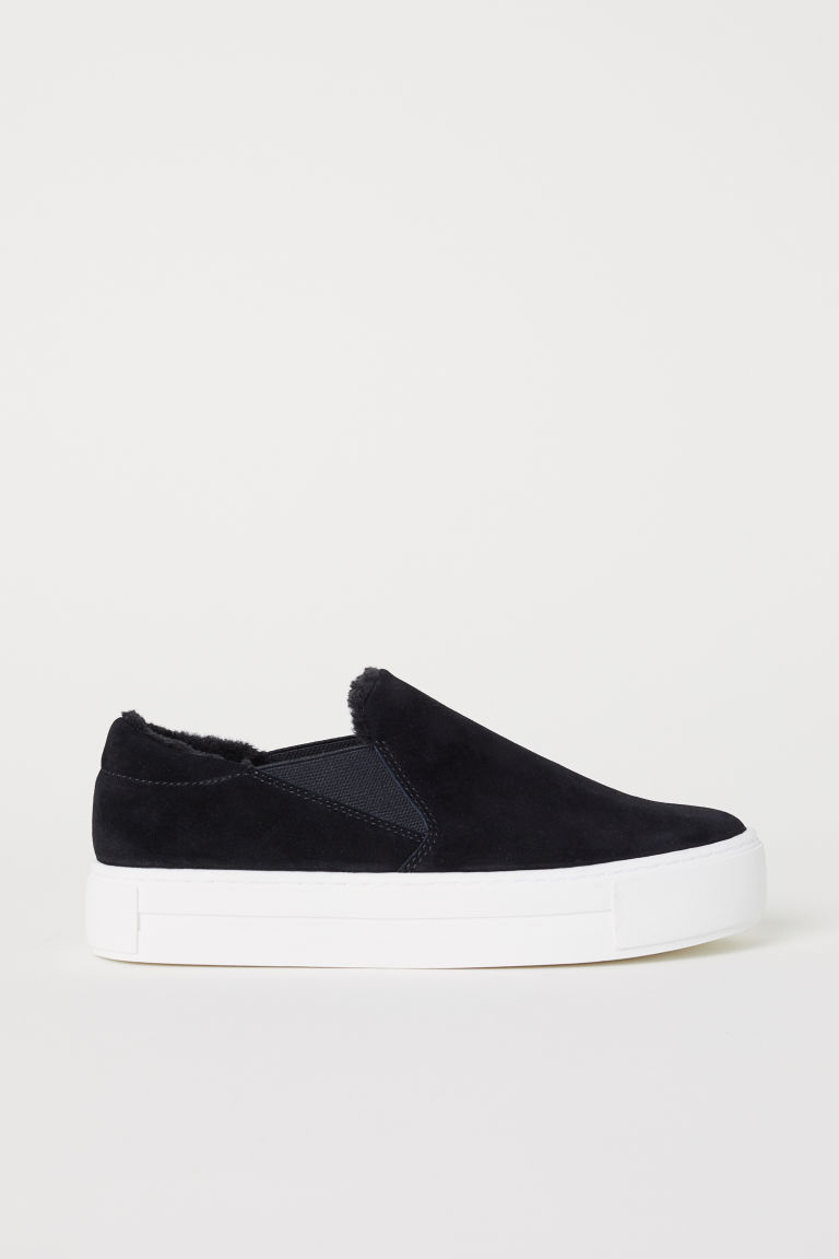 Suede slip-on trainers - Black - Ladies | H&M