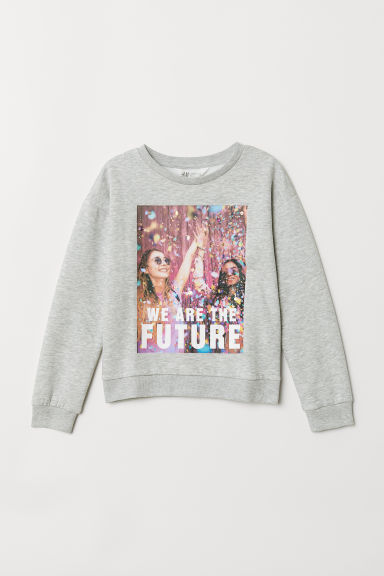 Printed sweatshirt - Light grey marl - Kids | H&M CN