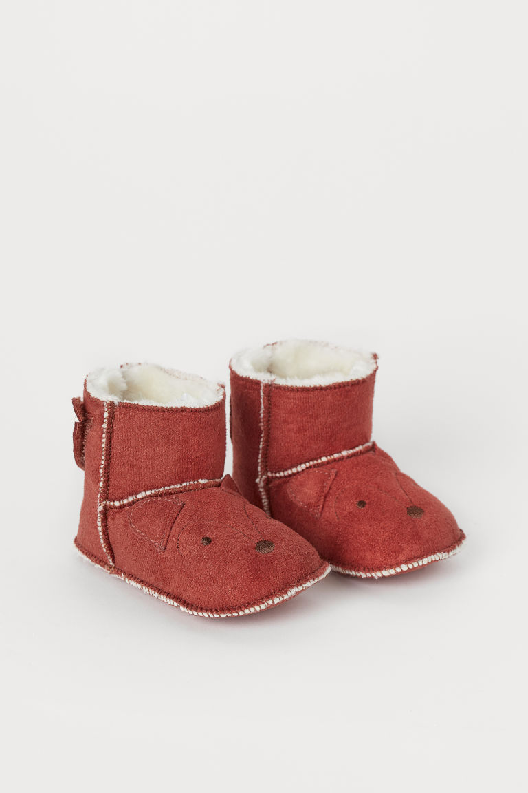 Pile-lined slippers - Rust red/Fox - Kids | H&M