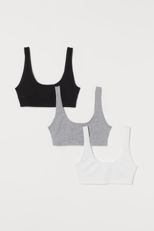 3-pack cotton bra tops