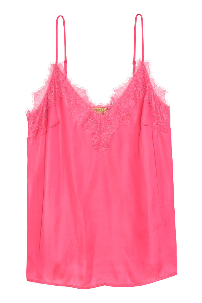Satin strappy top with lace - Pink - Ladies | H&M CN