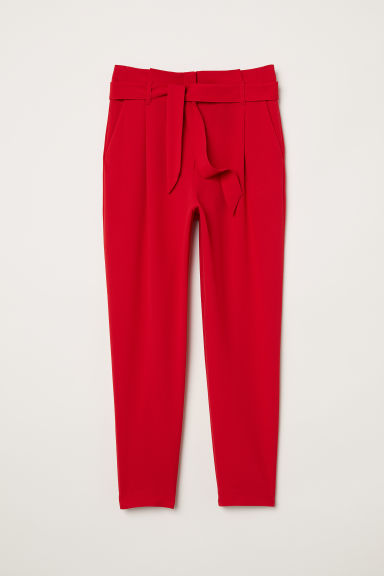 Paper bag trousers - Red - Ladies | H&M CN