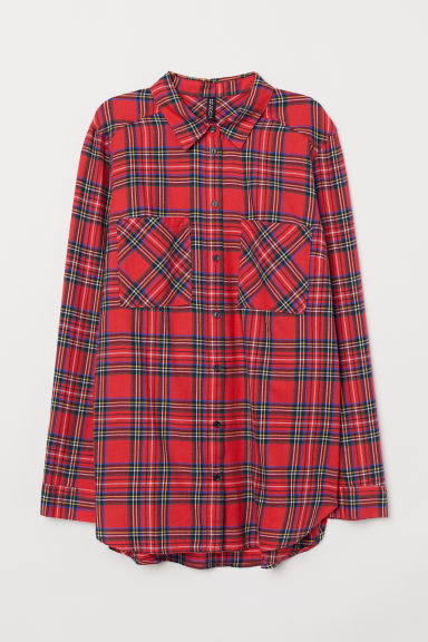 Cotton shirt - Red/Checked -  | H&M