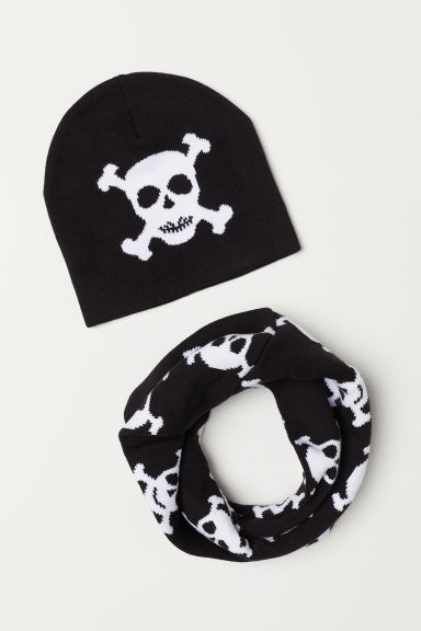 Hat and scarf - Black/Skull - Kids | H&M